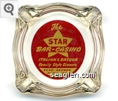 The Star Bar - Casino, Italian & Basque Family Style Dinners, Elko, Nevada, Phone - 406W - Yellow on red imprint Glass Ashtray