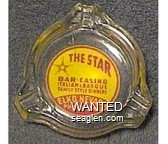 The Star Bar - Casino, Italian & Basque Family Style Dinners, Elko, Nevada, Phone - 406W - Red on yellow imprint Glass Ashtray