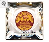 State Line Country Club, Sahati Bros.,  Lake Tahoe Nev. - Red on yellow imprint Glass Ashtray