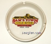 Sam's Town Gold River, Hotel & Gambling Hall, Laughlin, Nevada - Red, yellow and black imprint Glass Ashtray