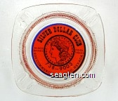 Silver Dollar Club, Mixed Drinks, Pool Tables, 738-9003, 400 Commercial St. Elko, Nevada - Blue on orange imprint Glass Ashtray