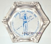 State Line Hotel Inc., East Line Nevada . . . P.O. Wendover, Utah, Where the West Begins - Blue imprint Glass Ashtray