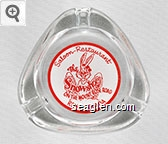 Saloon - Restaurant, The Snowshoe, On The Mount Rose Road, Reno, Nevada - Red on white imprint Glass Ashtray