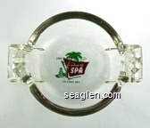 The Desert Spa, Las Vegas, Nev. - Green and brown imprint Glass Ashtray
