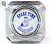 Spare Time Bowling Center, Winnemucca, Nevada - Blue imprint Glass Ashtray