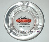 Casino St. Charles, Riverfront Station, Reservations 1-800-325-7777 (USA molded under lip) - Red and black imprint Glass Ashtray