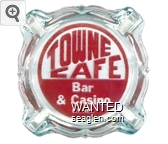 Towne Cafe Bar & Casino, Ely, Nev. - Red on white imprint Glass Ashtray