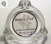 Western Club, on ''America's Main Street'' Lovelock, Nevada - Brown on white imprint Glass Ashtray