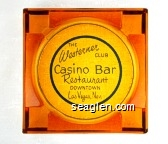 The Westerner Club Casino Bar Restaurant, Downtown Las Vegas, Nev. - Blue imprint Glass Ashtray