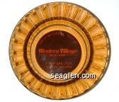 I-80 At McCarran [Exit 19], Western Village Inn & Casino, 1-800-648-1170, Sparks, Nevada - Orange on brown imprint Glass Ashtray