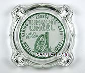 Wagon Wheel, Wells Nevada, Gaming Lounge Cafe, Motel Hotel - Green on white imprint Glass Ashtray